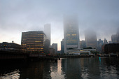 Federal Reserve Bank and other Buildings in Boston Massachusetts USA on a Foggy Day with Copy Space - Stock Image - AJXMKN