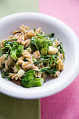 Pasta with Broccoli, Watercress and Stilton Cheese - Stock Image - BJMF3D