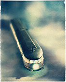 Polaroid transfer of Tram on modeled background - Stock Image - BTHWG8