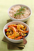 Prawn curry with rice - Stock Image - BJNMY5