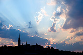 Silhouette of Budapest city skyline with dramatic sky, Hungary - Stock Image - BXW384
