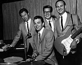 The Crickets pop group with Glen Dee Hardin Buzz Cason Jerry Allison and Sonny Curtis circa 1955 - Stock Image - B4NB7J