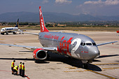 Jet2 Boeing 737-330 at Palma de Mallorca, Son Sant Joan Airport, Spain. - Stock Image - CC1MC0