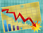 Line graph showing economy crash - Stock Image - D38H60