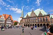 Am Markt square with the Rathaus, Alt Stadt, Bremen, germany - Stock Image - E6RAT0