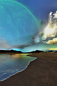 Beautiful skies shine down on this cosmic seascape. - Stock Image - C2YRW7
