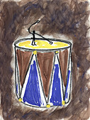 A little guy playing the drums - Stock Image - BR51B7