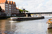 """German river barge """"Angura"""" on the River Wesser at Bremen. - Stock Image - E6RATA"""
