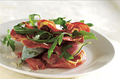 parma ham with figs and rocket - Stock Image - CC19Y3