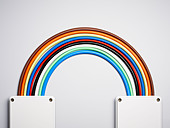 Colorful cords in rainbow shape - Stock Image - D5WY1C