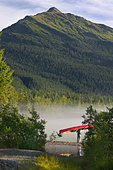 Person Carries Canoe to Mendenhall Lake SE AK Summer Tongass NF Morning - Stock Image - BCH9HW