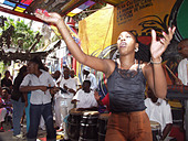 Woman dancing Havana Cuba - Stock Image - AM444F