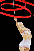 Yang Yuqin (China) competing with Ribbon at the World Rhythmic Gymnastics Championships in Montpellier. - Stock Image - C86D7Y
