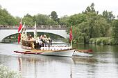 Windsor, Berkshire, UK. 14th June, 2015. A flotilla of boats headed by the Gloriana sails down the River Thames at Windsor.  The relay commemorates the 800th anniversary of the signing of the Magna Carta at Runnymede by King John in 1215 © Ed Brown/Alamy Live News - Stock Image - ETJMW0