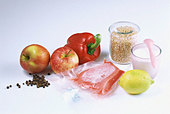 Foods for a low-carb diet - Stock Image - AF7BRW