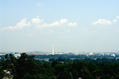 Panoramic View of The Washington DC Skyline as Viewed from Arlington National Cemetery in Washington DC USA Copy Space - Stock Image - AT66HR