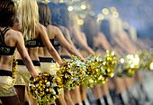 Cheerleaders of the New Orleans Saints perform during a game against the Indianapolis Colts in Super Bowl XLIV - Stock Image - BHBA3F