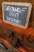 tank door sign on tank 2007 reserve domaine roger sabon chateauneuf du pape rhone france - Stock Image - C0TDX2