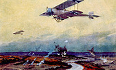 World War I, German biplane on reconnaissance over the Marne, painting by Hans Rudolf Schulze - Stock Image - CWB080