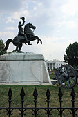 Statue of Soldier on a Horse and The White House Residence of the President of The United States Washington DC USA Copy Space - Stock Image - APPFEN