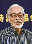 Tokyo, Japan. 13th July, 2015. World-renown Japanese animated film director Hayao Miyazaki talks animatedly about the Henoko Fund and his vied toward the controvertial security related bills Prime Minister Shinzo Abe sets to bulldoze through the Diet during a news conference at his studio in the western suburbs of Tokyo on Monday, July 13, 2015. He became one of the key backers behind the Henoko Fund which aims to collect donations to stop a military base from being built in the Henoko area in Okinawa. © Aflo Co. Ltd./Alamy Live News - Stock Image - EXEJWK
