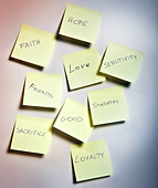 note papers with emotions - Stock Image - C52XK2
