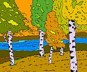 autumn sunny landscape with forest river  - vector illustration - Stock Image - DNM11E