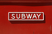 Urban Scene of a Red Subway Entrance Sign in Philadelphia Pennsylvania USA Copy Space - Stock Image - B4BFR7