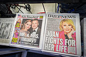 Front pages and headlines of the New York Post and Daily News tabloid newspapers - Stock Image - E703K2