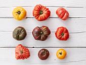 Arrangement of nine heirloom tomatoes - Stock Image - E5X7TN
