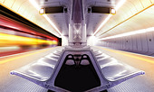 motion blur high speed train in subway - Stock Image - C4FKXY
