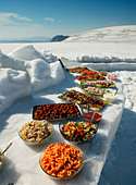 Buffet lunch served on Langjokull Glacier, Iceland - Stock Image - A79PWD
