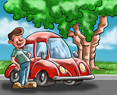 A man looking his car near to a tree - Stock Image - CPP9FM