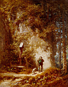 fine arts, Spitzweg, Carl (1808 - 1885), painting, hunter in the forest, Wimmer Gallery, Munich, wood, woods, Karl, German, Bied - Stock Image - BD684Y