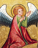 """fine arts, religious art, angels, ""praying angel"", painting, Germany, circa 1330, oil on panel, Bavarian National Museum, his - Stock Image - A3YM5R"