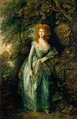 'The Duchess of Richmond' - painting by Thomas Gainsborough. In green gown outdoors.  TG, English painter: 14 May 1727 - 2 - Stock Image - B0DT4R