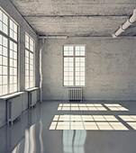 empty room with windows (loft concept) - Stock Image - CYPJMC