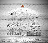 Business sketch on wall - Stock Image - EM5EH6