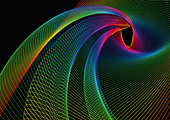 Swirling rainbow colored lines - Stock Image - BEWFAG