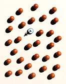 Overhead shot of balls and a Subbuteo player - Stock Image - AB5HNM