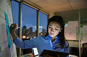 Businesswoman at whiteboard working late in conference room - Stock Image - EFBMJ7