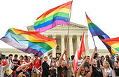 Washington, DC, USA. 26th June, 2015. People in support of same-sex marriage rally outside the Supreme Court in Washington, DC, the United States, June 26, 2015. The U.S. Supreme Court on Friday ruled that there is a right to same-sex marriage in all 50 states across the country. © Bao Dandan/Xinhua/Alamy Live News - Stock Image - EWHY36