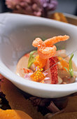 Lobster dish with fennel & orange foam (molecular cuisine) - Stock Image - BJKME1