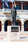 Zeno of Kition staue, founder of Stoicism philosophy, Europe Square, Larnaca, Cyprus. - Stock Image - E9YYRY