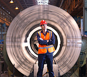 Engineer In Front Of Steel Lathe - Stock Image - BK92PW