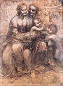The Virgin and Child with St. Anne and the Young St. John the Baptist, by Leonardo da Vinci c.1499-1500 Drawing. Italian artist - Stock Image - B0DT2N