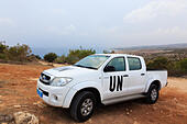 Toyota of the United Nations Peace keeping force based in Cyprus at Cape Greco - Stock Image - EFJCCY