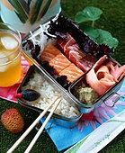 Bento box, with recipe - Stock Image - BX447X