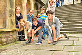Bristol, UK. 18th October, 2014. World Apple rolling championships on World famous Christmas steps in Bristol.UK.L/R in picture Anoush Sprague,Charlie Harnded and Maurice Byrne.  Event now in its 3rd year. © Robert Timoney/Alamy Live News - Stock Image - E93CMA