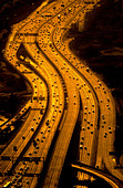 Aerial view of freeways, Los Angeles, California. - Stock Image - B9RG2N